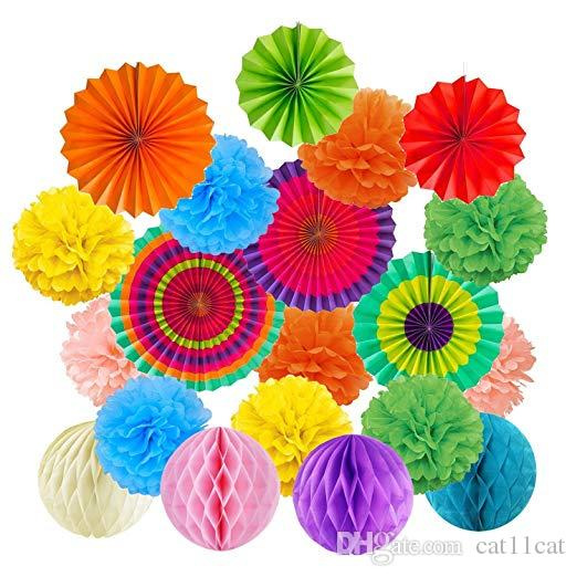 19Pcs/Set Rainbow Hanging Decorations Set Paper Fans Tissue Paper Pom Poms Flower and Honeycomb Balls for Birthday Party Wedding baby boy
