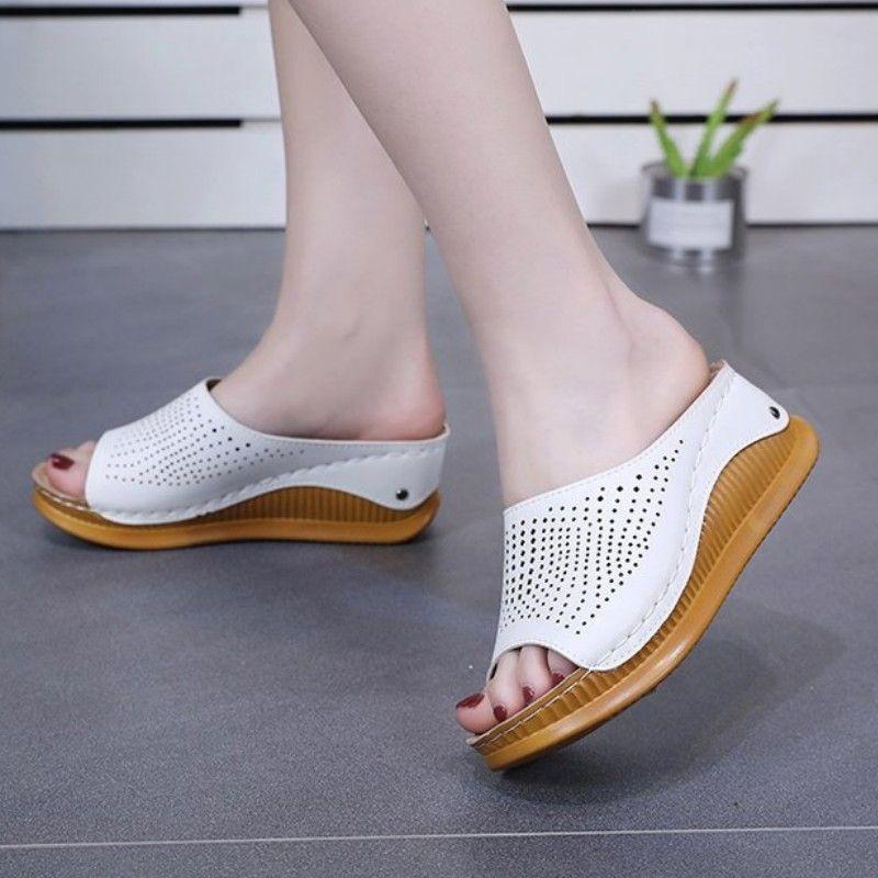 Nuovo Pantofole Donne scavi fuori sandali degli alti talloni del cuneo della piattaforma del pistone di caduta di vibrazione casuale antiscivolo scarpe leggere donna