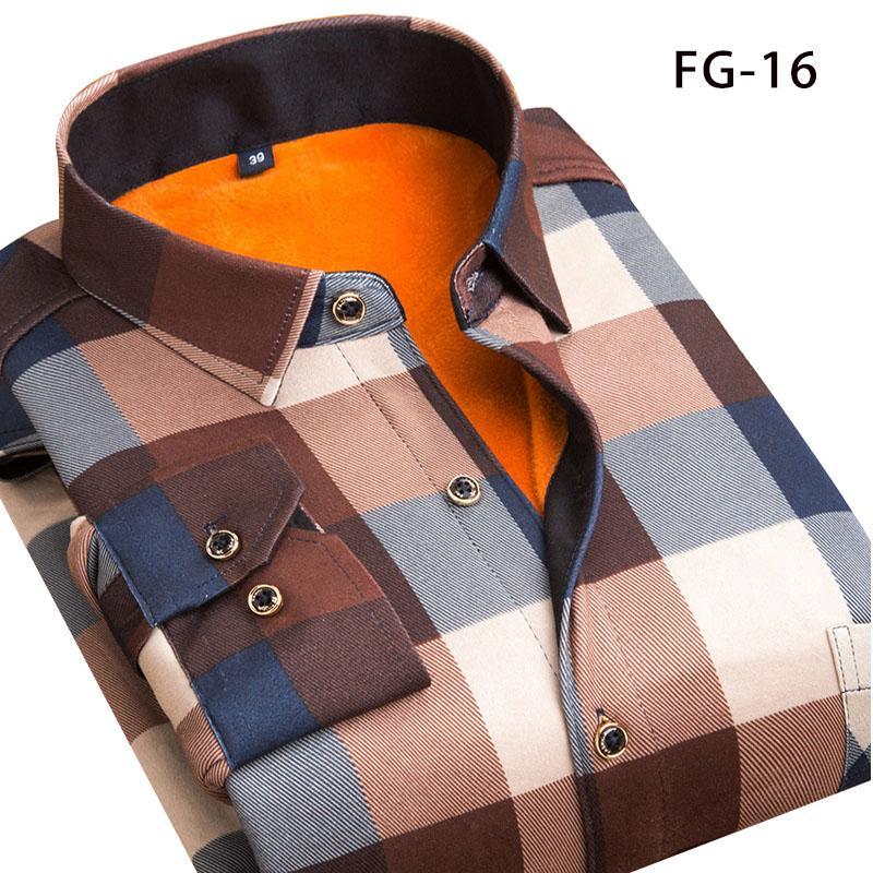 Мужские повседневные рубашки Aoliwen зимняя теплая рубашка плюс бархатный утолщение моды печать плед с длинным рукавом марка платье Sizel-5XL
