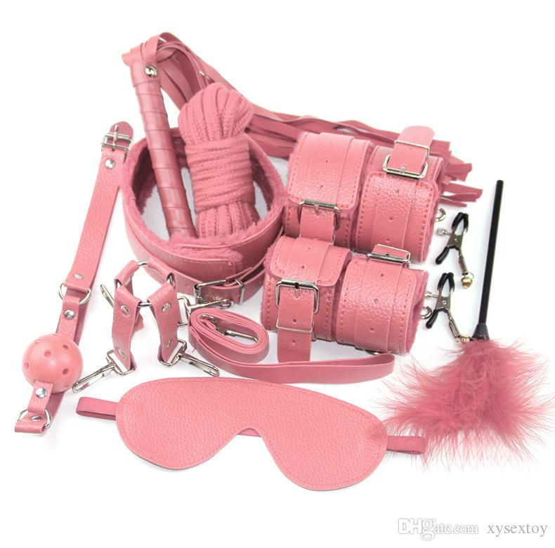 10 pz / set Bondage Set BDSM BDSM Ball Slave Roleplay Blindfold Bondage Corda Manette Kit Gag Nero / Rosso / Rosa / Purple Whip Kit fetish VHXHA