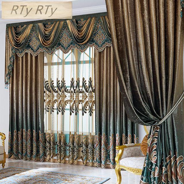 Europa y América StyleEmbroidery jacquard cortina para el dormitorio sala de estar francesa Ventana Villa Ventana Cortinas