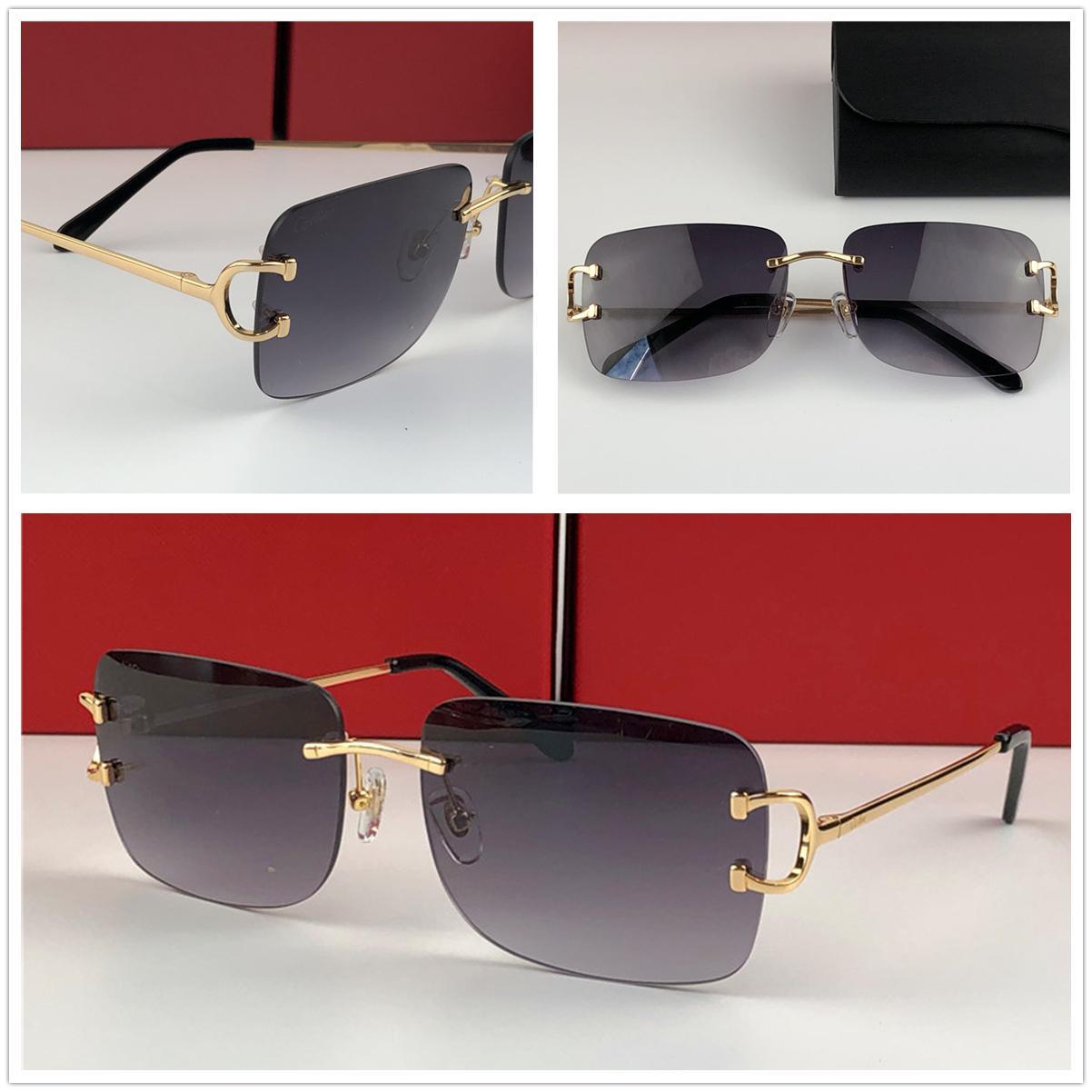 Homens de luxo Designer óculos de sol ao ar livre Moda óculos Zonnebril homens Vintage Frameless Praça pequeno quadro garde design Avant Modern