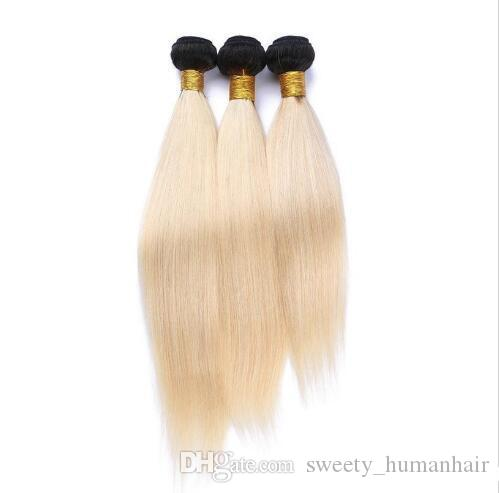 Brazilian Ombre Blonde Hair Weaves Ombre T1b 613 Blonde Two Tone Color 3pcs lot Double Wefts Blonde Ombre Remy Hair Extensions