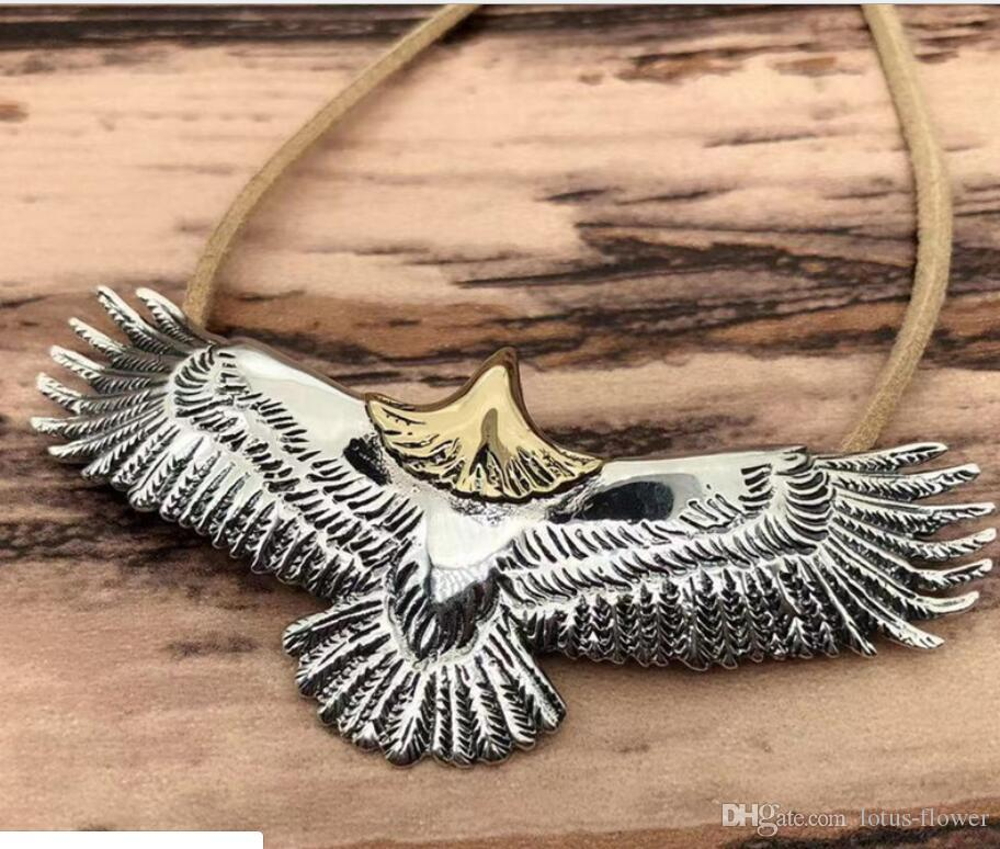 New arrival S925 Sterling Silver Takahashi Handmade Silver Carved Dot Gold Head Eagle Pendant with Buckskin Rope