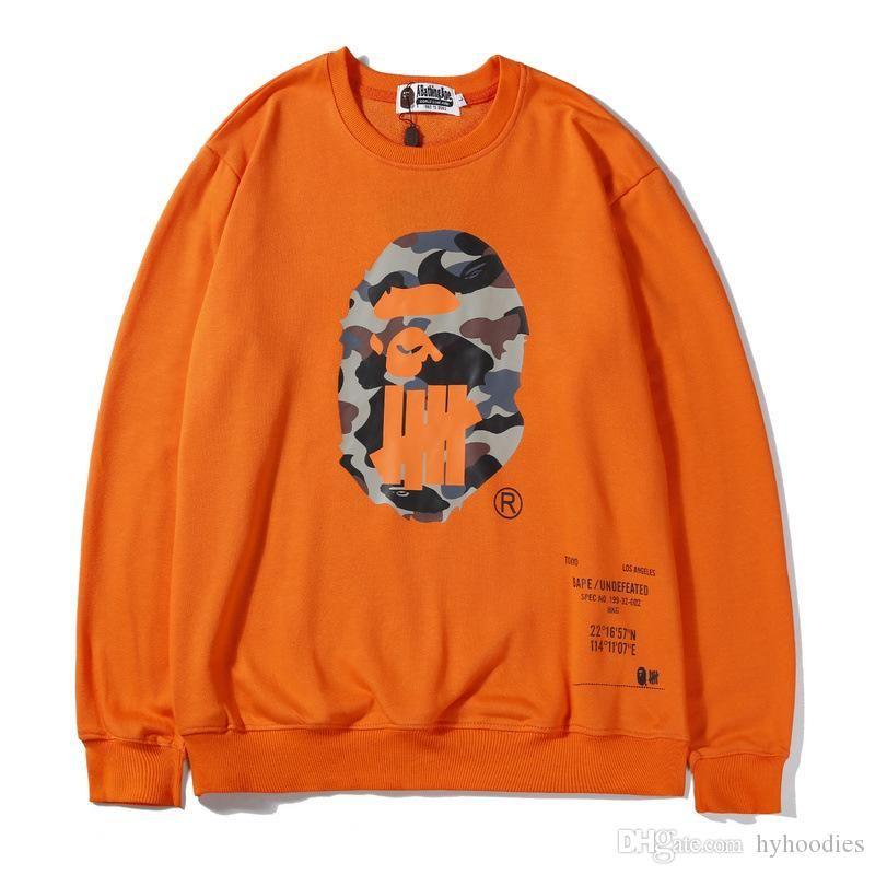 Novo outono adolescente preto branco laranja pullover hoodies hip hop homens mulheres esporte hoodies finos soltos