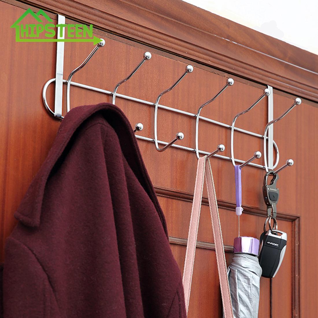12 Ganchos de baño puerta colgando rack de cocina colgados Organizador ropa colgada en la puerta ganchos Sobre puerta del sostenedor del estante de la toalla T200319