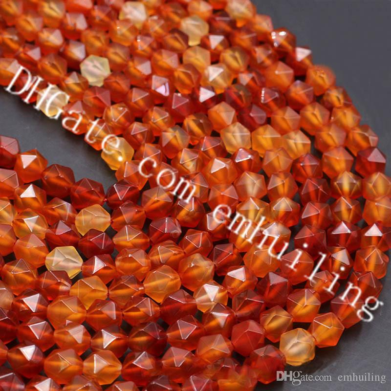 10 Full Strands Star Cut Faceted Genuine Carnelian Gemstone Diamond Beads Wholesale Natural Red Agate Nugget Loose Beads 6mm 8mm 10mm 12mm