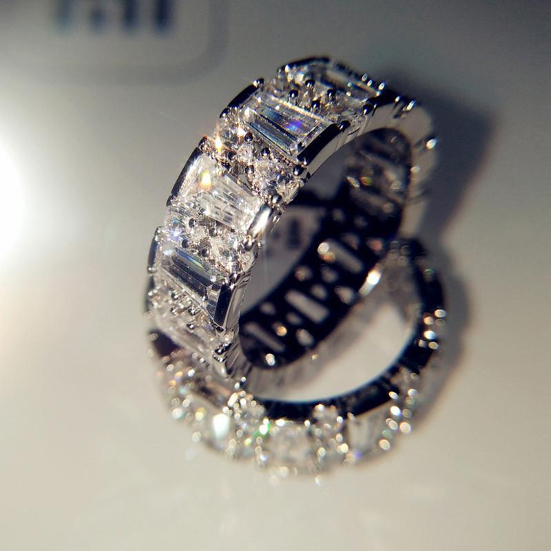 Frizzante full zircone anelli di nozze per le donne di alta qualità S925 gioielli in argento Gilrs Gilrs Regali del partito Anello Dimensioni 6 7 8 9 10 Bague Femme
