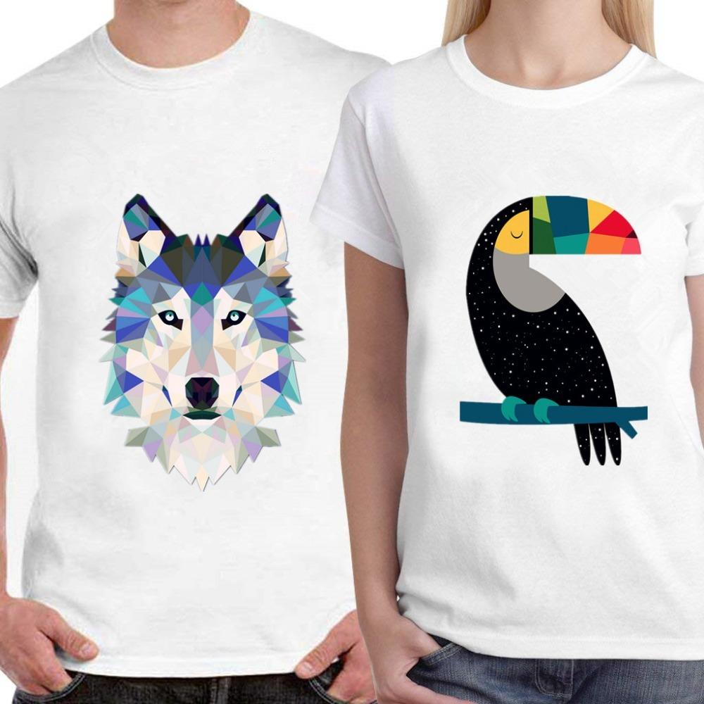 Skipoem Funny Tshirt Bird Panda Wolf Geometric Cotton O Neck T Shirt Plus Size Short Sleeve Brand Female T-Shirt Femme