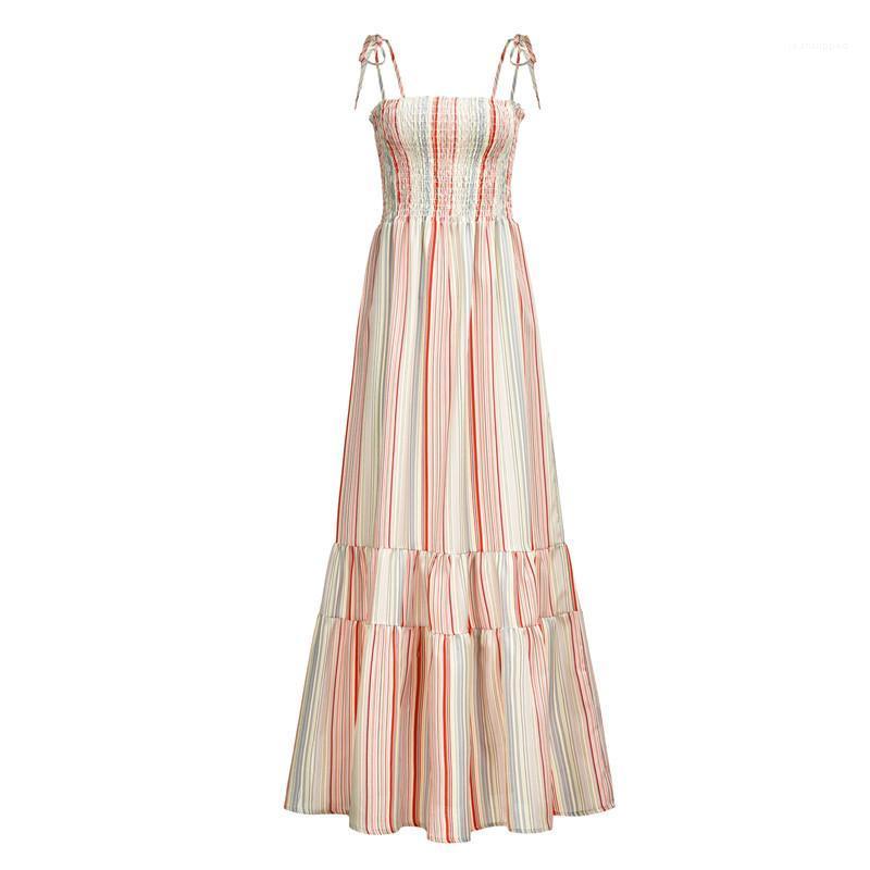 Boho Стили пояса высокой талией макси летние платья женщин Летние каникулы Стили Женская Дизайнерская Цветочные платья Спагетти ремень праздник