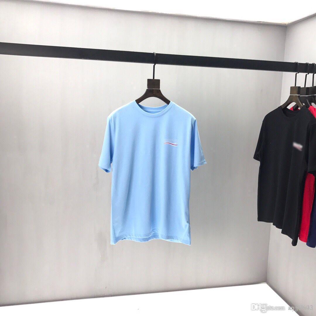 2020ss весной и летом новый высококачественный хлопок печати короткий рукав круглый шею панель T-Shirt Размер: M-L-XL-XXL-XXXL Цвет: черный белый qq57