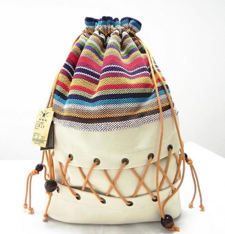 Original ethnic canvas sack pack lady cotton printed colorful backpack teenage straw string follow out strip bag Y200623