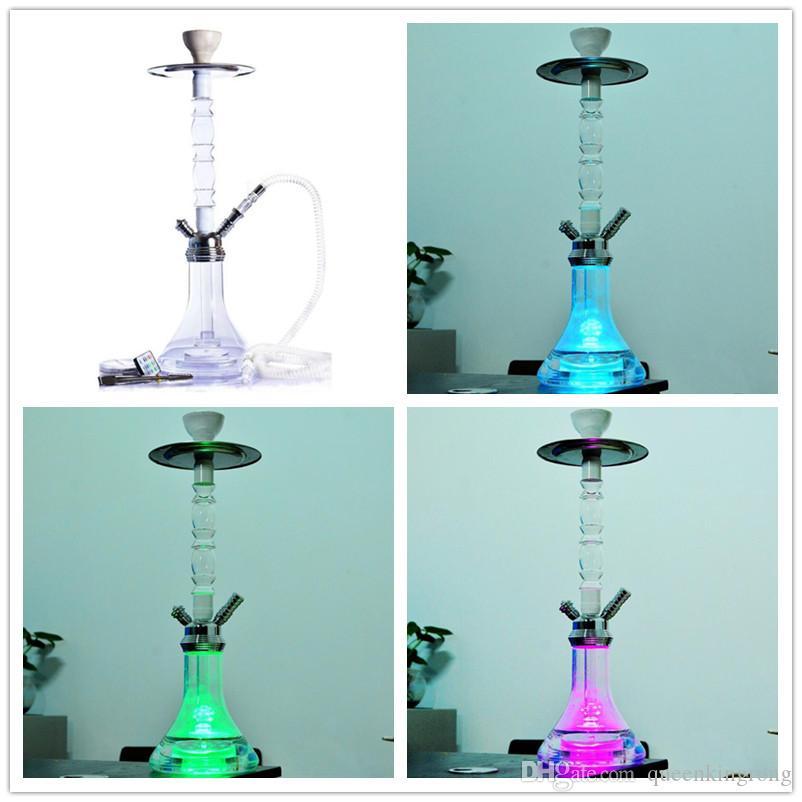 21.25 pollici altezza altezza acrilico rotondo narghilè bong set telecomando aerodinamico a led vetro tubo dell'acqua fumante shisha filtro sigaretta filtro arabo