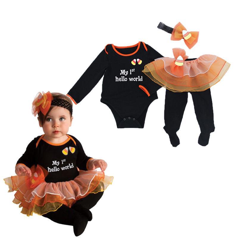 2017 pudcoco 4PCS bébé fille Casual Vêtements mignons Set Beau Bandeau Bonjour tout le monde Outfit Party Romper jupe Vêtements Set Robe