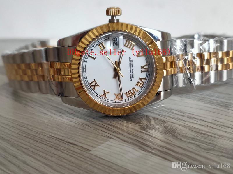 2019 новый 18-каратного золота из нержавеющей стали браслет Роскошные женские часы Женские 18-каратного золота из нержавеющей стали 26 мм 31 мм 179163 179173 Белый римский циферблат