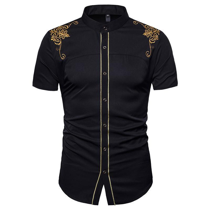 الصيف رجال اللباس قمصان قصيرة الأكمام طباعة الزهور قمم عارضة ملابس رجالي التطريز اللون الصلبة