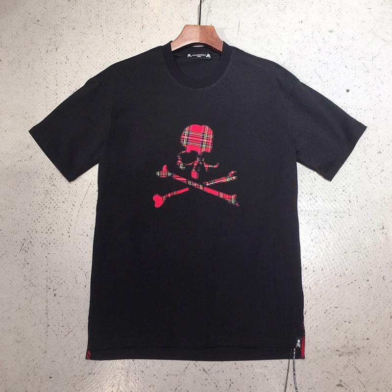 2020ss Mastermind Japonya MMJ Tişörtlü Erkekler Kadınlar Kırmızı Ekose Kafatasları Nakış tişört Erkekler% 100 Pamuk Tees Tops