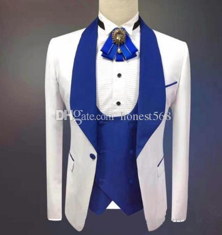 Bello scialle Risvolto Groomsmen Smoking da sposo con un bottone Abiti da uomo Matrimonio / Prom / Cena Best Best Blazer (Jacket + Pants + Tie + Vest) 085