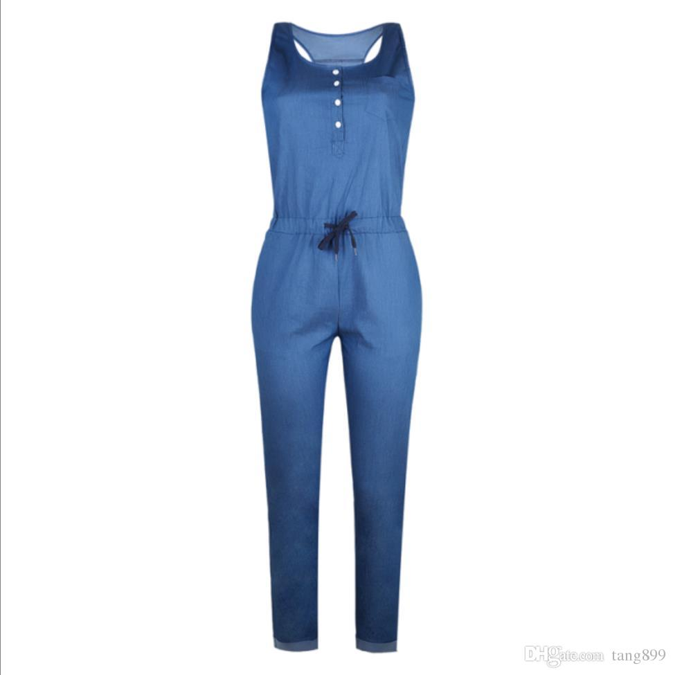 Casual Strap Womens Jeans Rompers Jumpsuit Wide Leg Sleeveless One Piece Women Overalls Female Denim Pants