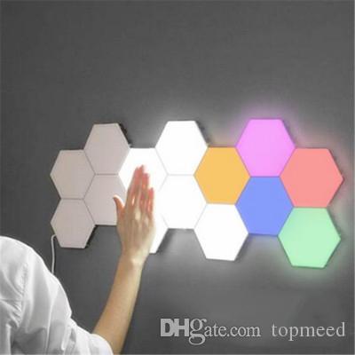 LED 핫 제품 Douyin 양자 유도 램프 선택적 배경 빛 6 장식 벽 램프 레스토랑 벌집 원격 제어 램프