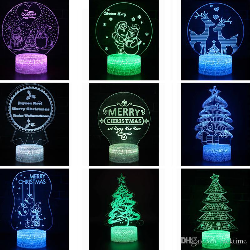 Las luces de Navidad en 3D la noche LED de iluminación del dormitorio lighs regalos de juguetes de interior Decoración Linternas RGB lámpara de mesa para niños