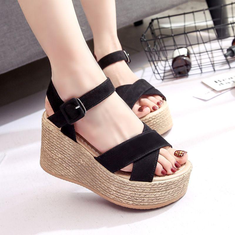 Женщины клинья сандалии 2019 лето Супер обувь женщина платформы Sexy Высокие каблуки Женщины Мода Сандал Женская обувь SH030503 MX200407