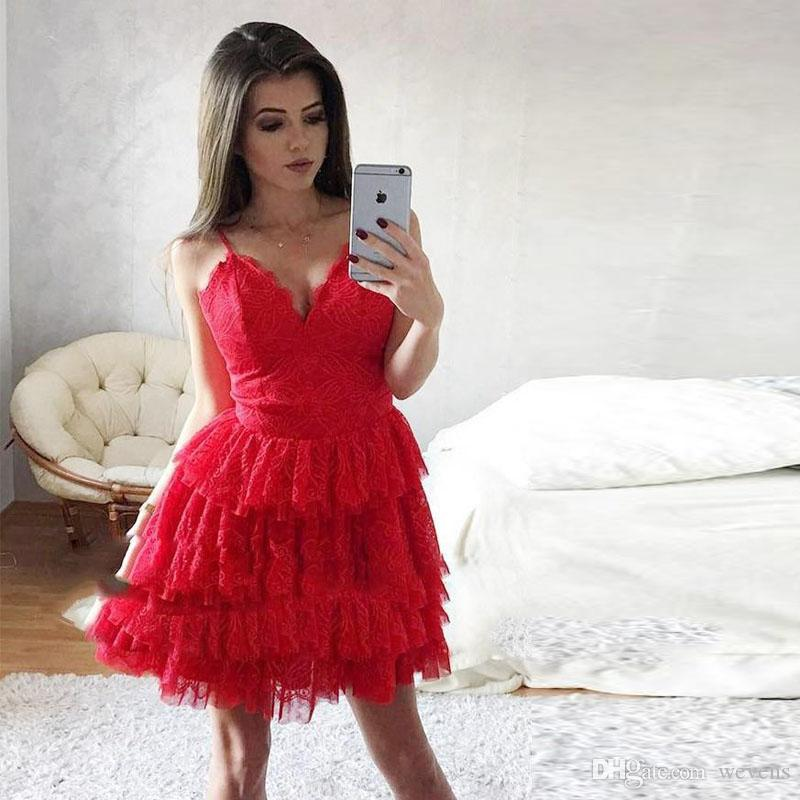 Custom Made Red Above Knee Homecoming Dresses Spaghetti Strap Full Lace Tiered Skirt Mini Cocktail Party Gown Short Prom Dress 2019