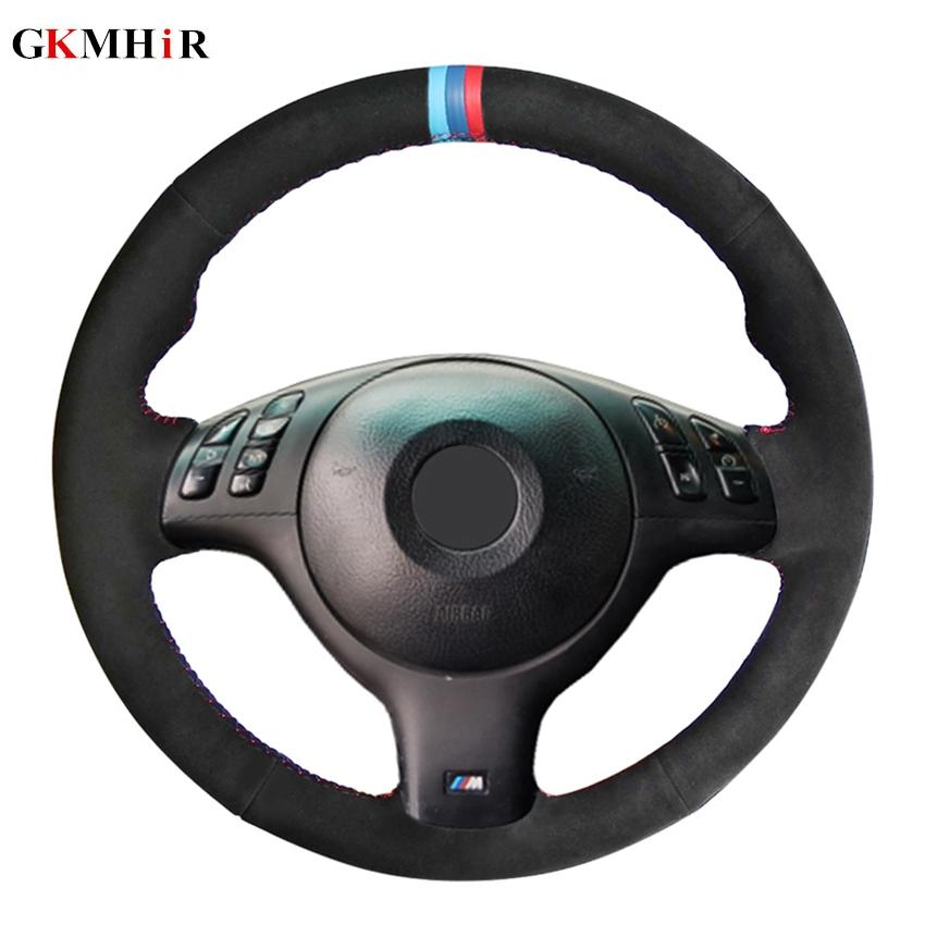 DIY مخيط اليد السوداء الجلد المدبوغ السيارات تغطية عجلة القيادة لسيارات BMW E39 E46 525i 330I 530I 540i M3 330CI 20012002 2003
