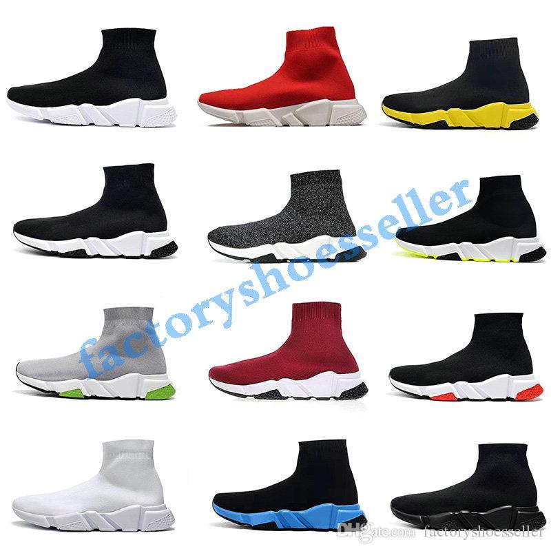 Balenciaga Sock shoes Luxury Brand velocidade Meias Stretch-Knit High Top Sapatos Trainer Barato Sneaker Preto Branco Mulher Casais Casuais Sapatos Casuais sem caixa