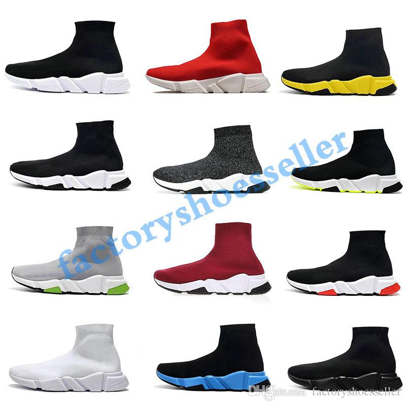 Speed Trainer Boots Socks Stretch-Knit High Top Trainer Shoes Cheap Sneaker Black White Woman ManS Couples Shoes Casual Boots without box