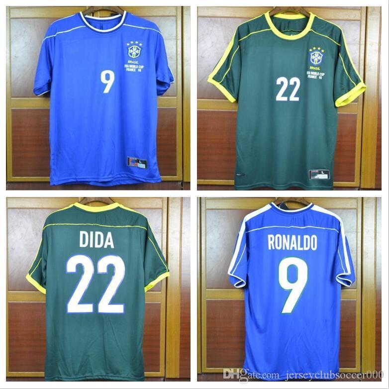 TOP world cup 1998 Brazil away blue goalkeeper DIDA soccer jerseys Brasil retro shirts Carlos Romario Ronaldo Ronaldinho Jersey 98