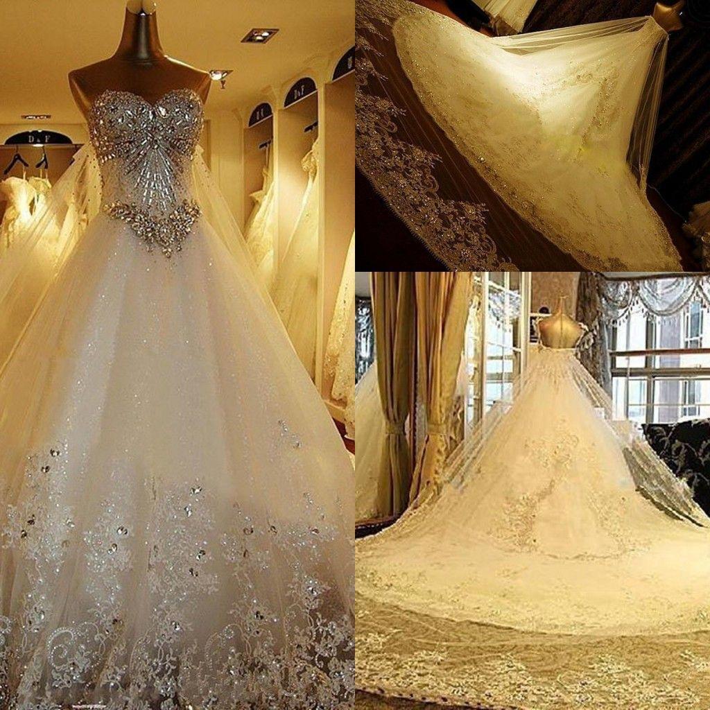 2019 Modest brilhante rendas de cristal Vestidos de casamento de luxo Catedral Trem do vintage corset vestidos de noiva real Imagem mais vestido de noiva tamanho