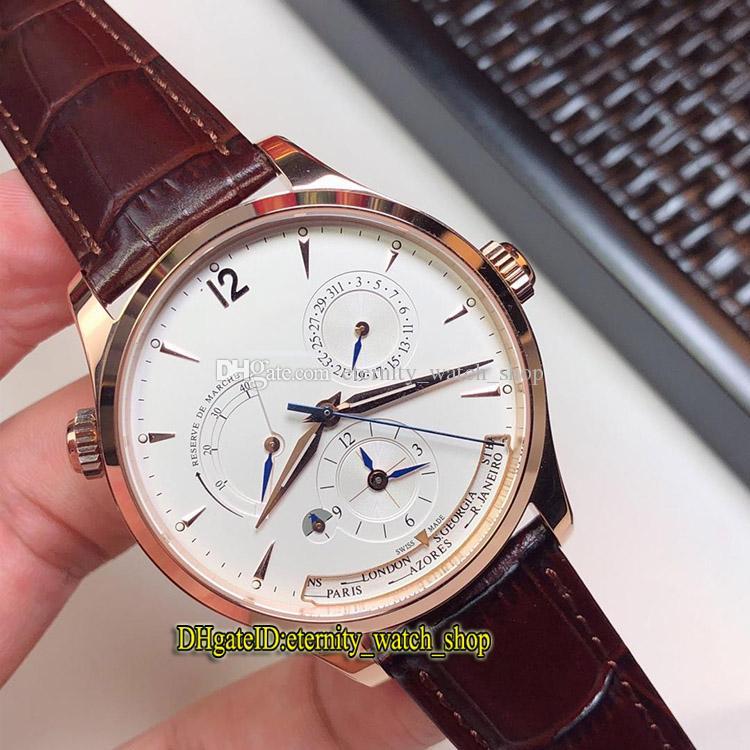 Верхнего уровня версии MASTER ГЕОГРАФИЧЕСКИЙ Q1422421 Белый Многофункциональный набор Cal.939A Автоматическая розового золота Мужские часы кожаный ремешок Часы