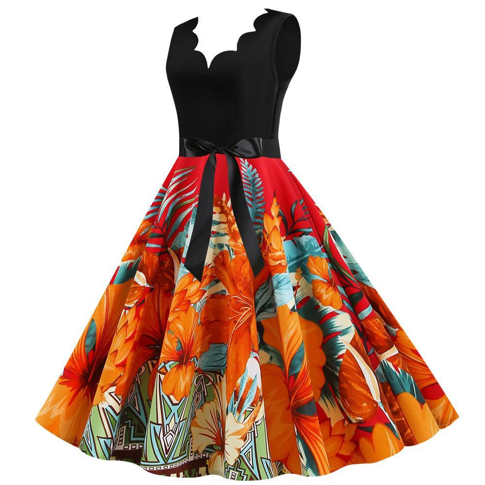 # JY14705 Großhandel Flora Digitaldruck Damen Kleider Sommerkleidung V-Ausschnitt ärmelRückenReißverschluss Frauen verursachende Partei
