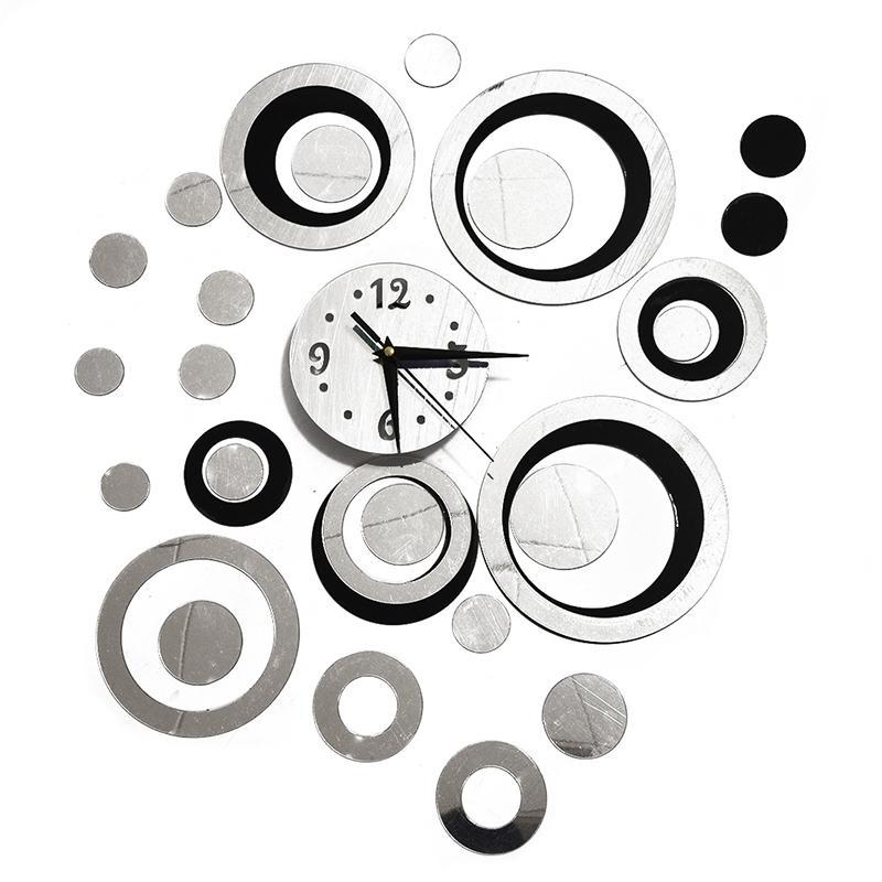 Effet miroir autocollant mural avec horloge / autocollants d'horloge de miroir / Décorée mur / salle bricolage / Horloge murale moderne Autocollants