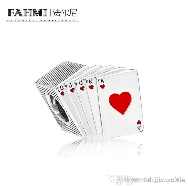 HYWo 100% 925 Sterling Silver 1:1 Original PLAYING CARDS CHARM 797195EN09 Beaded Fashion Women's Wedding Jewelry