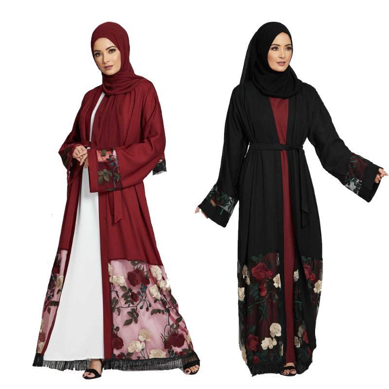 Muslim Abaya Femmes Floral broderie ouverte Kimono longue Maxi Robe Kaftan Robe turque Moyen-Orient Parti islamique Robe New
