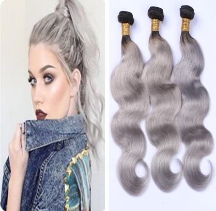 Ombre estensioni dei capelli umani dell'onda del corpo di 1B Grey Ombre dell'onda del corpo di capelli umani brasiliani tessuto Bundles peruviano nero e grigio