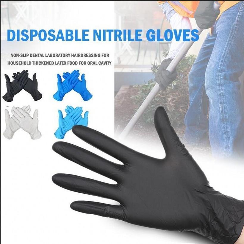 100 adet / kutu Tek Kullanımlık Nitril Eldiven Siyah Mavi Tozsuz Ev Temizleme Salonu Koruyucu Bulaşık Yıkama / Mutfak Nitril Eldiven FY4036