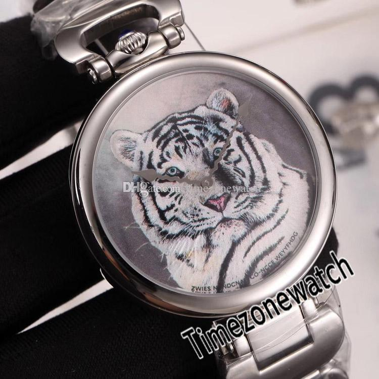 Nueva Bovet Fleurier Amadeo 46mm suizo de cuarzo Reloj de plata del tatuaje del acero pintada tigre Dial pulsera de acero inoxidable Timezonewatch E06a1