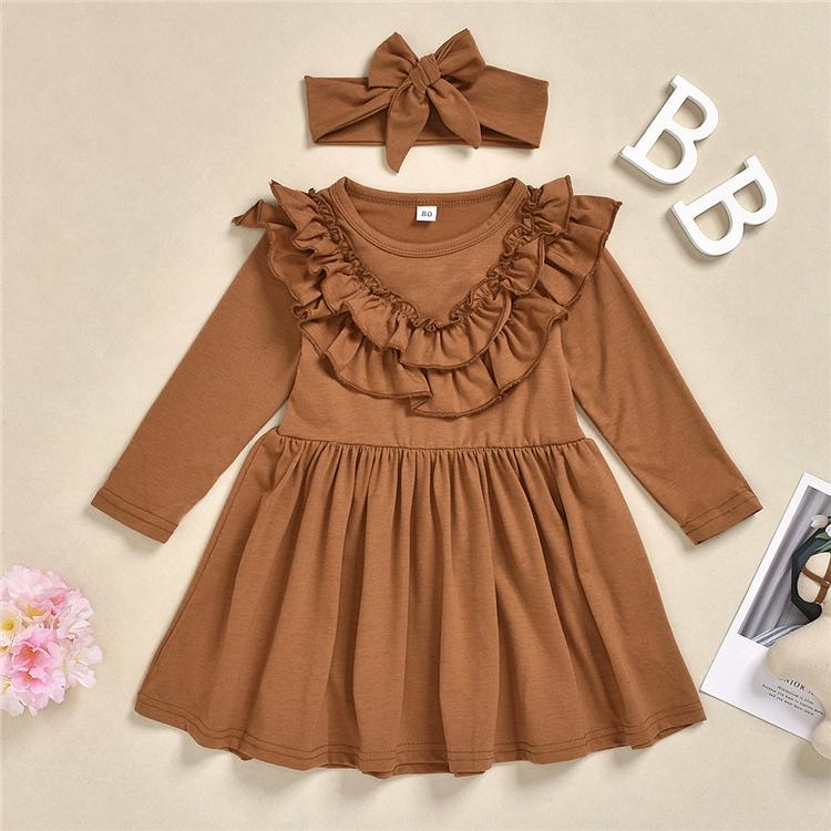 Kafa 3 renk prenses elbise EJY902 ile Sonbahar bahar Bebek Çocuk Bebek kız Katı Fırfır Casual Parti Tutu elbiseler uzun kollu kıyafet