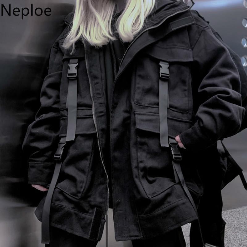 Neploe Kore Streetwear Harajuku Siyah Denim Ceket Boy Cepler Kadınlar Jeans Ceketler Gevşek BF Vintage Casual Coats 39106 T190917