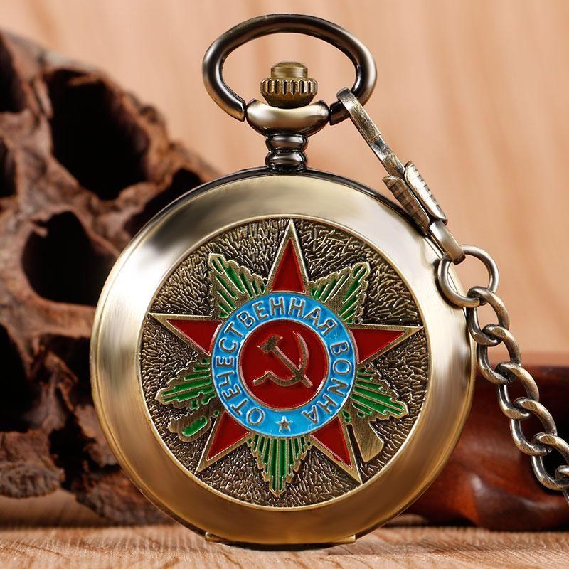Bronze Silver Steampunk Russia Soviet Sickle Hammer Communism Badge Hand Winding Mechanical Pocket Watch Stylish Vintage Pendant Chain Gifts