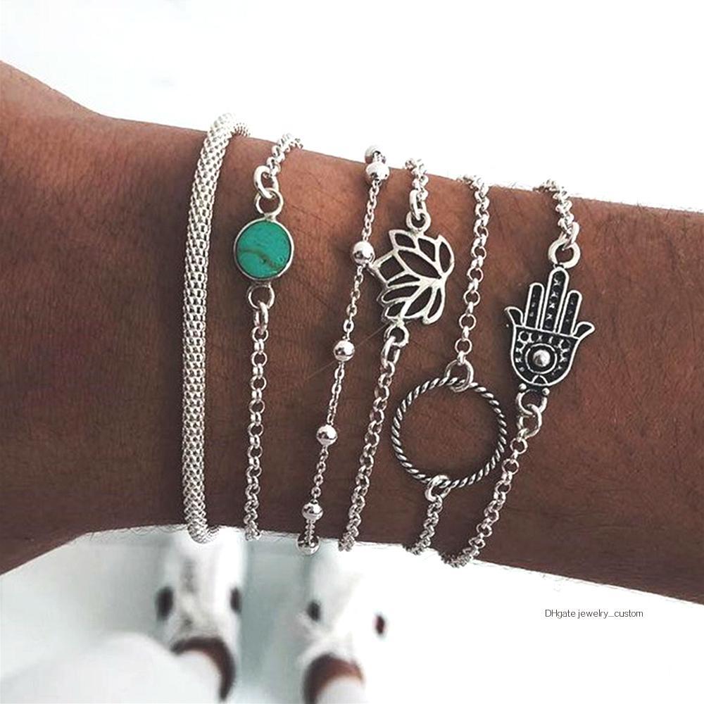 6 Pcs/set Bohemian Bangle Fatima Hand Hollow Lotus Bead Gem Scrub Silver Bracelet Set Women Party Wedding Jewelry Accessories
