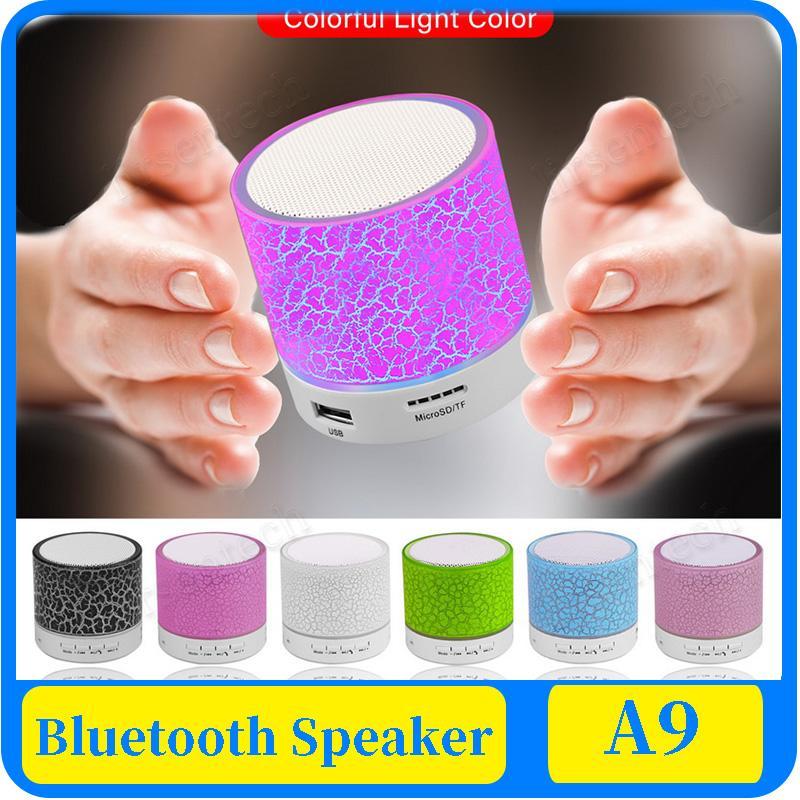 A9 Bluetooth Speaker Mini sem fio Altifalante rachadura LED TF USB Subwoofer Bluetooth Speakers mp3 stereo music player de áudio
