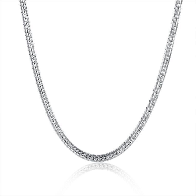 collar de hueso de serpiente 4M de chapado en plata esterlina collar 24INCHS * 4MM hombres FMSN191 Top 925 cadenas de placas de plata collares de la joyería