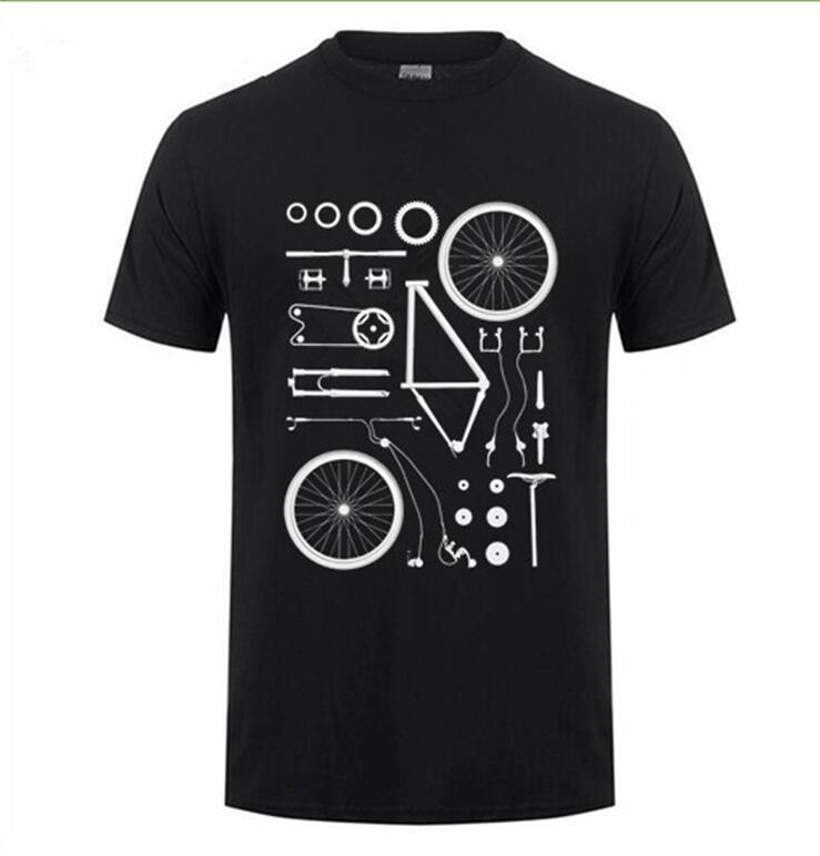 2019 T-shirt drôle d'impression vélo VTT T-shirts vélo de montagne a explosé en pièces Tee shirt groupe d'hommes tshirt Vêtements