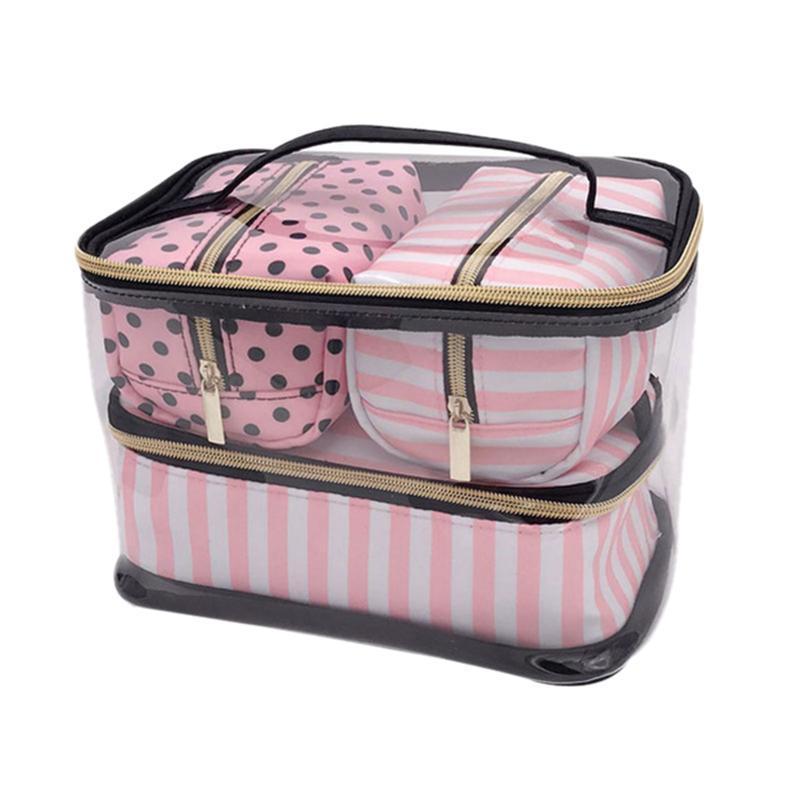 4pcs / Lot Pvc sac transparent cosmétiques Organisateur Sac Voyage Set Rose Toiletry Beauty Case Makeup Case Esthéticienne Vanity Necessair