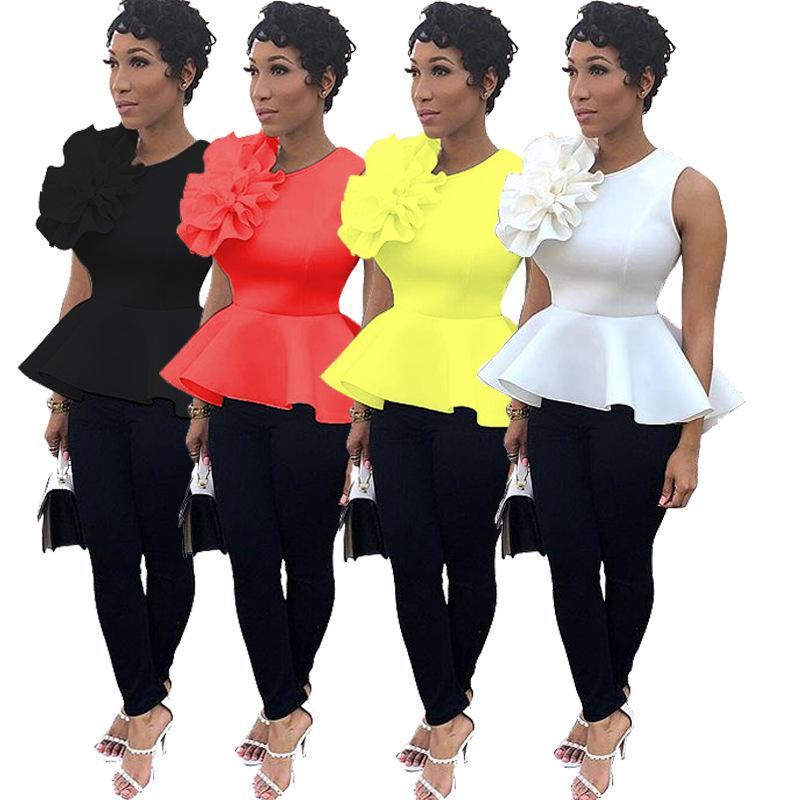 Chemises d'été en gros mode Big Ruffles sans manches femmes Tops Tee Shirts Solid Lady Blouses Chemises Expédition rapide