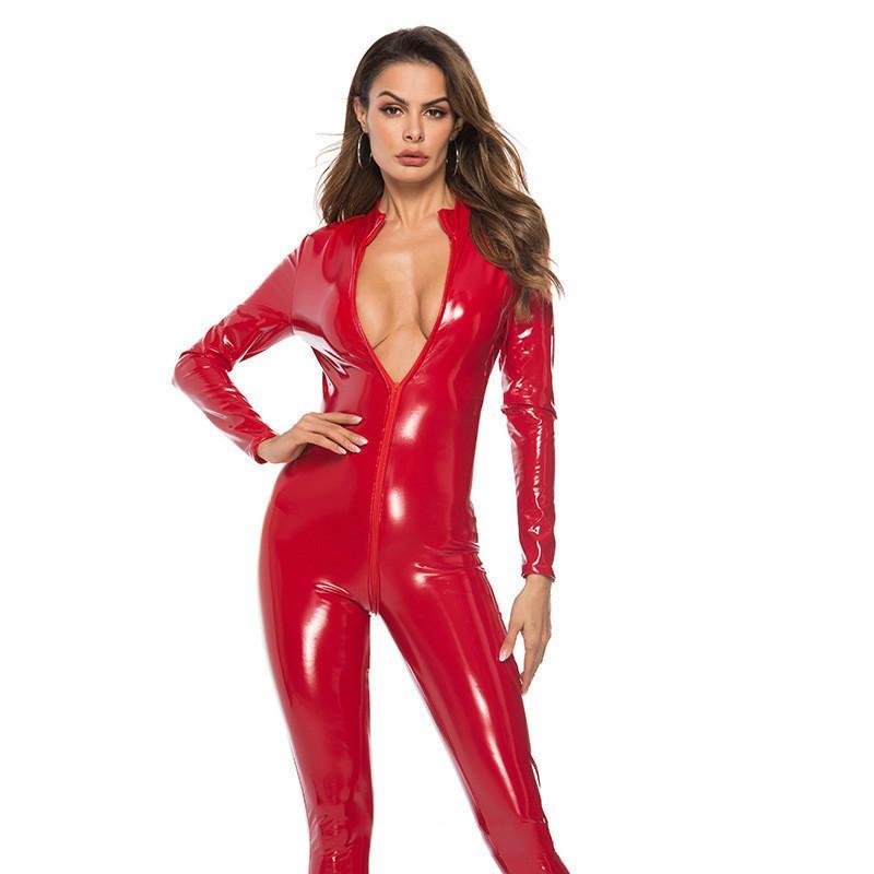 BNC Sexy Faux Leather Jumpsuit Mulheres Preto Vermelho Rosa Bodysuit Virilha Aberta PU Macacões De Couro Com Zíper Plus Size 3XL Pole Dance Rompers